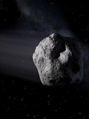 Taiteilijan näkemys 2020 SW:n kaltaisesta asteroidista.