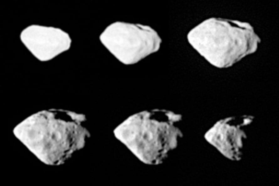 """Rosetta havainnoi Steinsia vain 800 kilometrin päästä. Kuva: <span class=""""photographer"""">Credits: ESA ©2008 MPS for OSIRIS Team MPS/UPM/LAM/IAA/RSSD/INTA/UPM/DASP/IDA</span>"""
