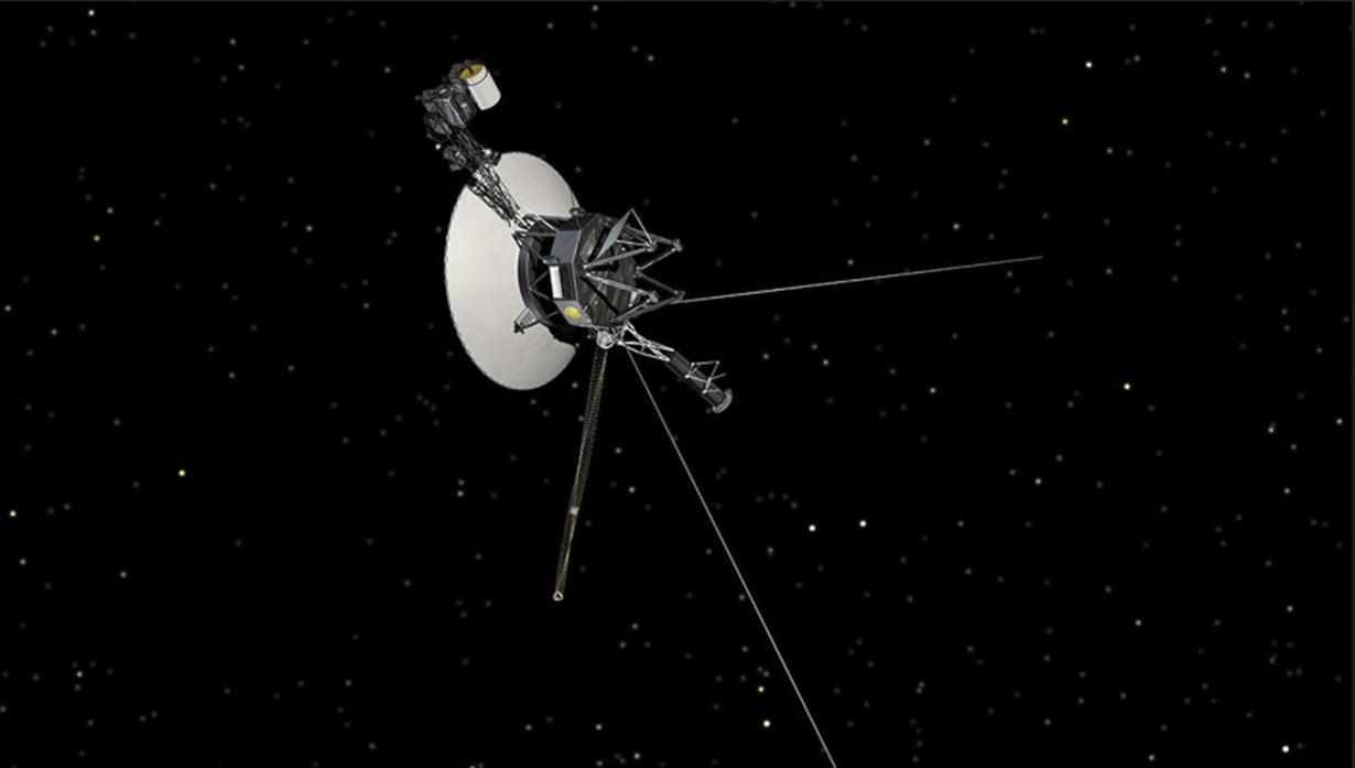 Voyager 2 etenee yli 55 000 kilometrin tuntinopeutta kohti tähtien välistä avaruutta. Kuva: Nasa