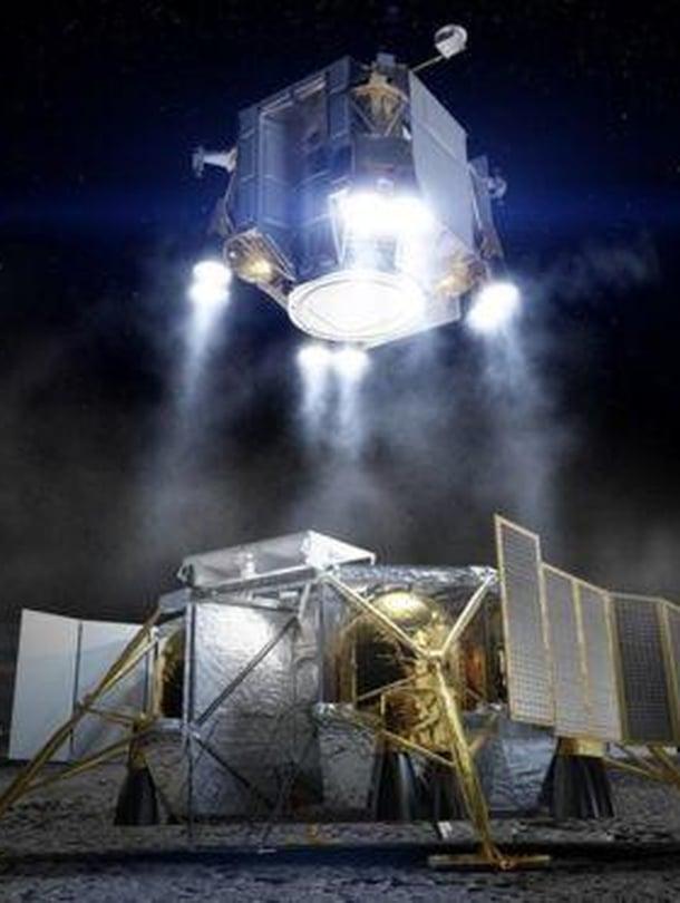 """Boeing-yhtiön laskeutuja Kuussa voisi taiteilijan mukaan näyttää tältä. Kuva: <span class=""""photographer"""">Boeing</span>"""
