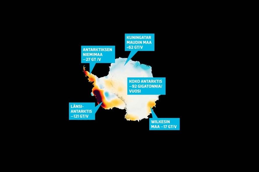 """Hävikki näkyy kartalla. Hävikkitiedot perustuvat mittauksiin, joita Nasan Grace-satelliitti on tehnyt vuodesta 2002. Nopeimmin jäätiköt hupenevat tummanpuhuvilla alueilla. Kuva: <span class=""""photographer"""">Nasa</span>"""