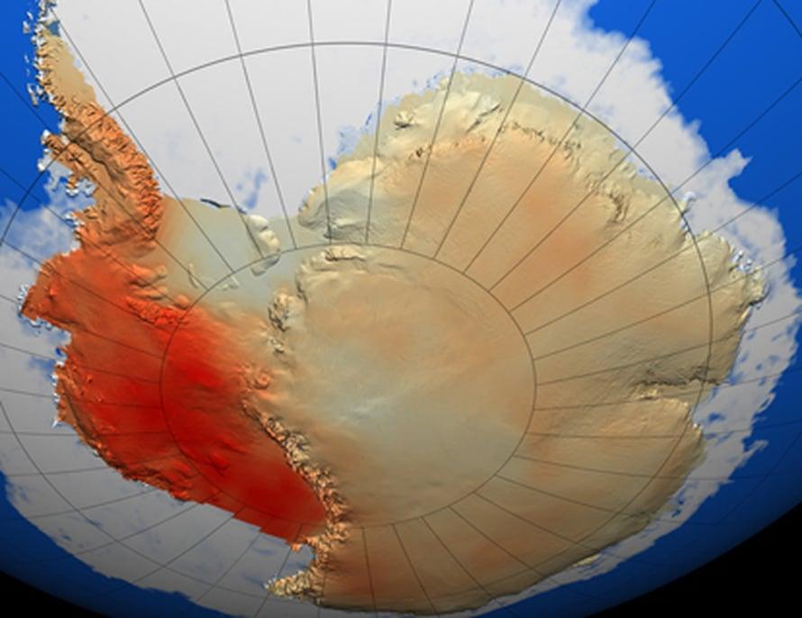 """Läntinen Etelämanner on lämmennyt viimeksi kuluneiden 50 vuoden aikana. Tummanpunaisilla alueilla lämpeneminen on ollut voimakkainta. Kuva: <span class=""""photographer"""">Nasa</span>"""