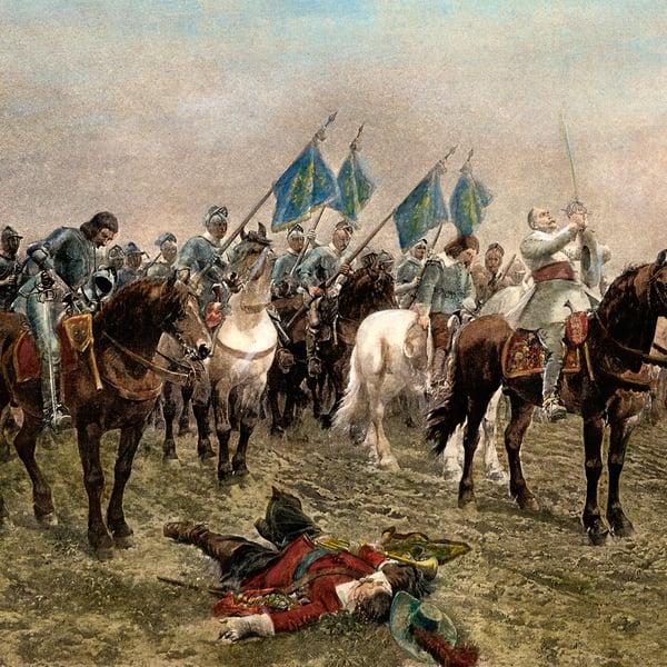 Kustaa II Aadolf valmistautuu kohtalokkaaseen Lützenin taisteluun. Kuva: MVPhotos/Grange