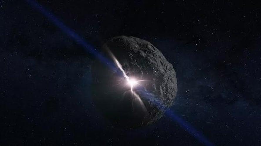 """Asteroidiin iskevä ydinlataus vapauttaisi valtavasti energiaa. Taiteilijan näkemys. Kuva: <span class=""""photographer"""">Nasa</span>"""