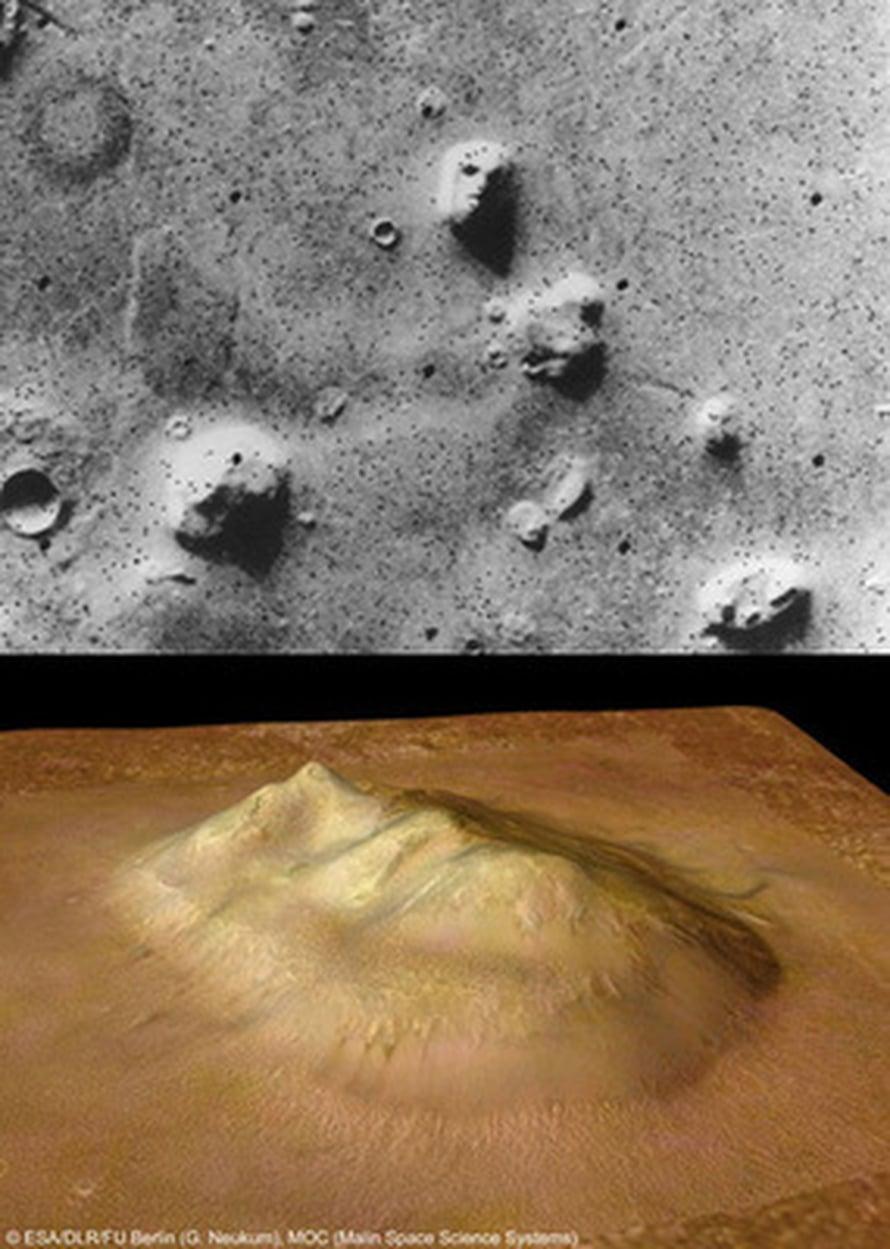 """Innokkaimmat pitivät Viking 1 -luotaimen vuonna 1976 kuvaamat Marsin """"kasvoja"""" (yllä) muukalaisten muotoilemina. Myöhemmissä satelliittikuvissa naama paljastui tavalliseksi kukkulaksi (alla). Kuva: <span class=""""photographer"""">NASA/JPL ja ESA/DLR/FU Berlin (G. Neukum), MOC (Mali</span>"""