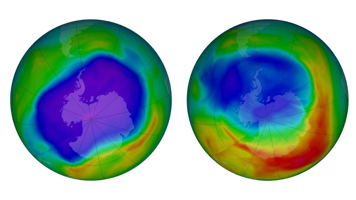 Otsoniaukko (sininen) oli suurimmillaan syyskuun lopulla 2006 (vasemmalla). Tänä vuonna maksimikoko jäi mittausajan pienimmäksi. Kuva: Nasa