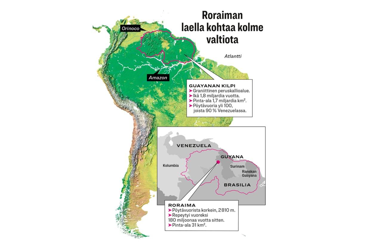 Guayanan kilven pöytävuoret muodostuivat, kun eroosio söi ympäriltä sedimenttiä peruskallioon asti. Kuva: iStock, grafiikka Anu Salo