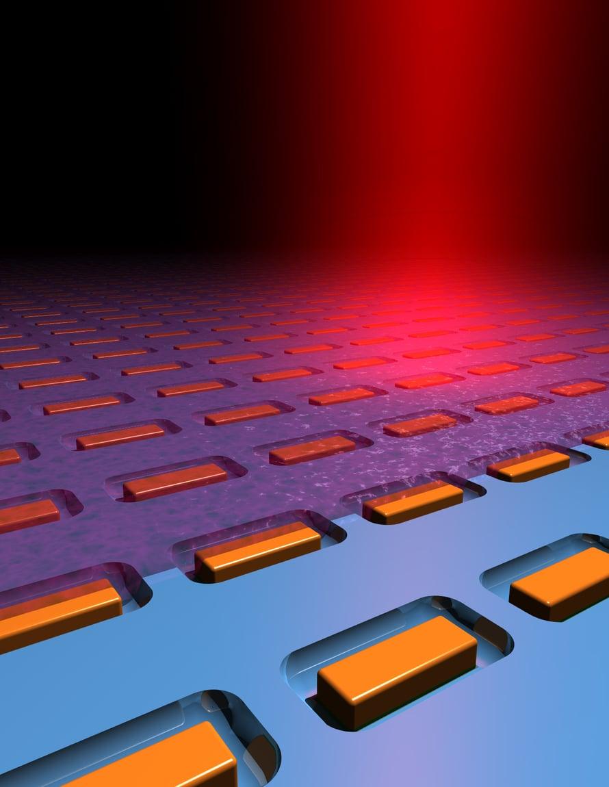 Nanoantenni sisältää noin 100 nanometrin kokoisia  kultasauvoja piin pinnalla.