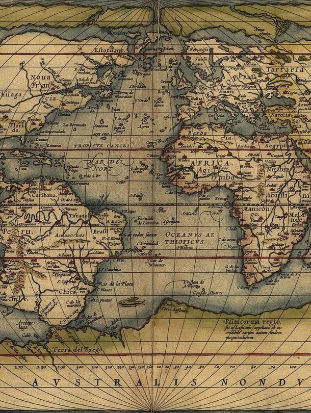 """Orteliuksen maailmankartassa noin vuodelta 1570 näkyy jo Amerikat. Kuva: <span class=""""photographer"""">Shutterstock</span>"""