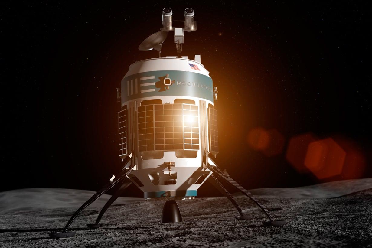 Moon Expressin MX-1E tavoittelee voittoa Lunar X Prize -kilpailussa. Kuva: Moon Express