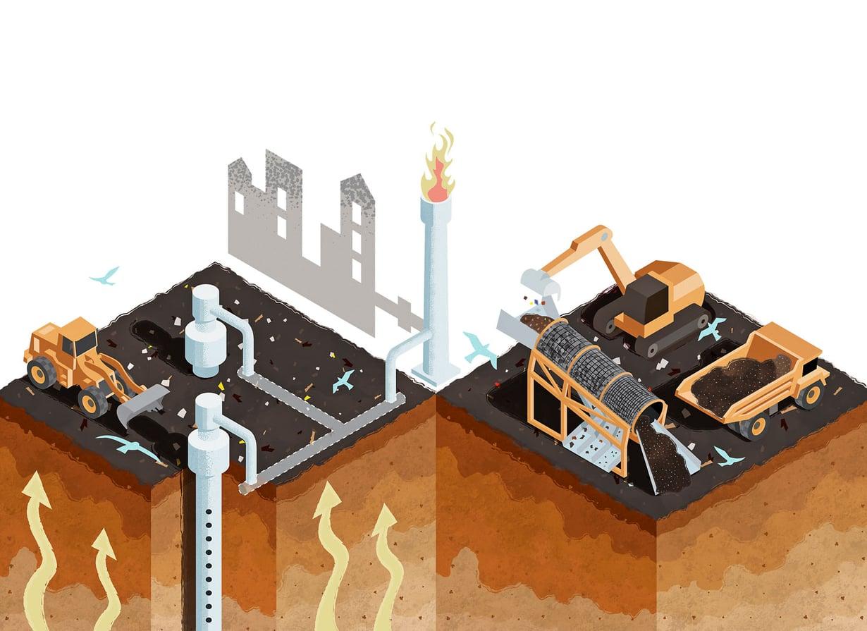 Louhintaturvallisuus  paranee, kun metaani  kerätään energiaksi  ja jätekasaa raivataan  ennakkoon. Massasta  erottuu isompia ja pienempiä  kappaleita metallia, muovia, lasia,  puuta ja muuta. Puhdas maa- aines lähtee  täyttömaaksi.  Kuvitus Jukka Fordell
