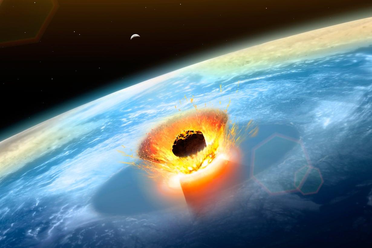 Chicxulubin asterodi iskeytyi Jukatanin niemimaan rannikolle ja porasi merenpohjaan sata metriä leveän kraatterin. Vaikutukset tuntuivat maapallon joka kolkassa. Kuva: SPL/MVPhotos