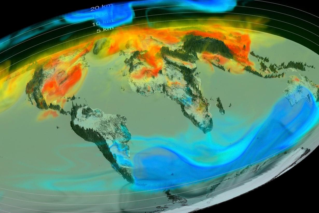 Hiilidioksidin liikkeet ilmakehässä näkyvät supertietokoneen koostamassa kuvassa. Kaasua on eniten punaisissa kohdissa. Kuva: SPL/MVPhotos