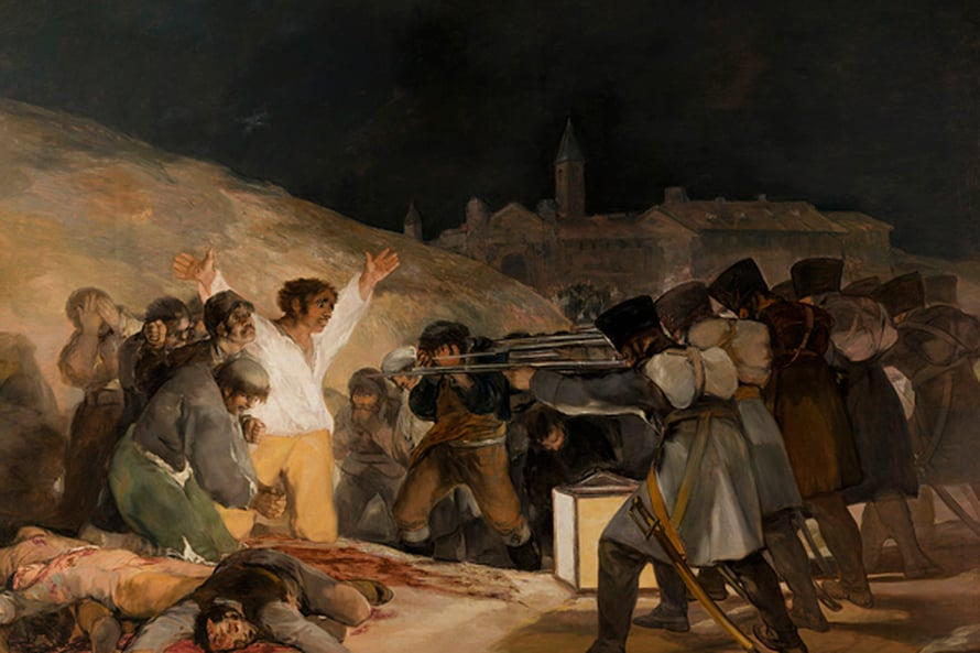 """Ranskalaissotilaat teloittavat espanjalaisia Francisco de Goyan maalauksessa Toukokuun kolmas 1808 (1812). Kuva: <span class=""""photographer"""">Prado/Wikimedia Commons</span>"""