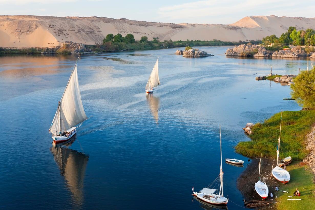 Purjeveneet ovat tuttu näky ikuisella virralla. Faraoiden ajoista vain purjeen malli on vihtunut raakapurjeesta latinalaispurjeeseen. Kuva: Getty Images