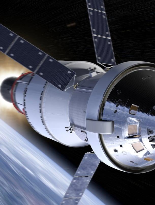 """Nasan uusi miehistöalus Orion muistuttaa Apolloa mutta on sitä suurempi. Kuva: <span class=""""photographer"""">Nasa</span>"""