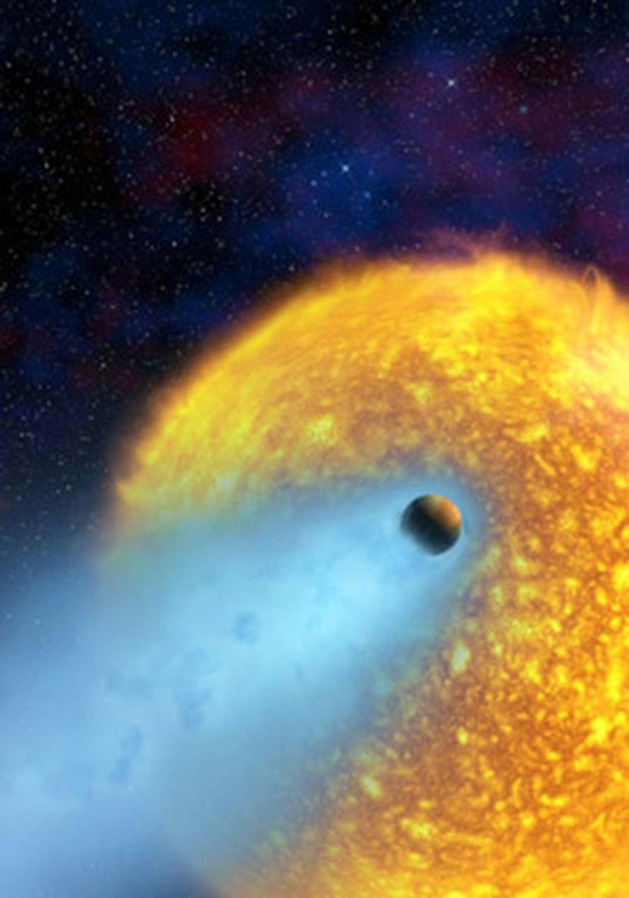"""Tähden läheisyys höyrystää HD 209458b:lle komeettamaisen hännän. Kuva: <span class=""""photographer"""">NASA, ESA ja Alfred Vidal-Madjar</span>"""