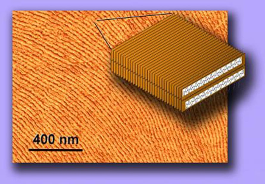 """Sähköä johtavan muovin hienorakennetta atomivoimamikroskoopin kuvassa. Kuva: <span class=""""photographer"""">Tomasz Kowalewski, Carnegie Mellon University</span>"""