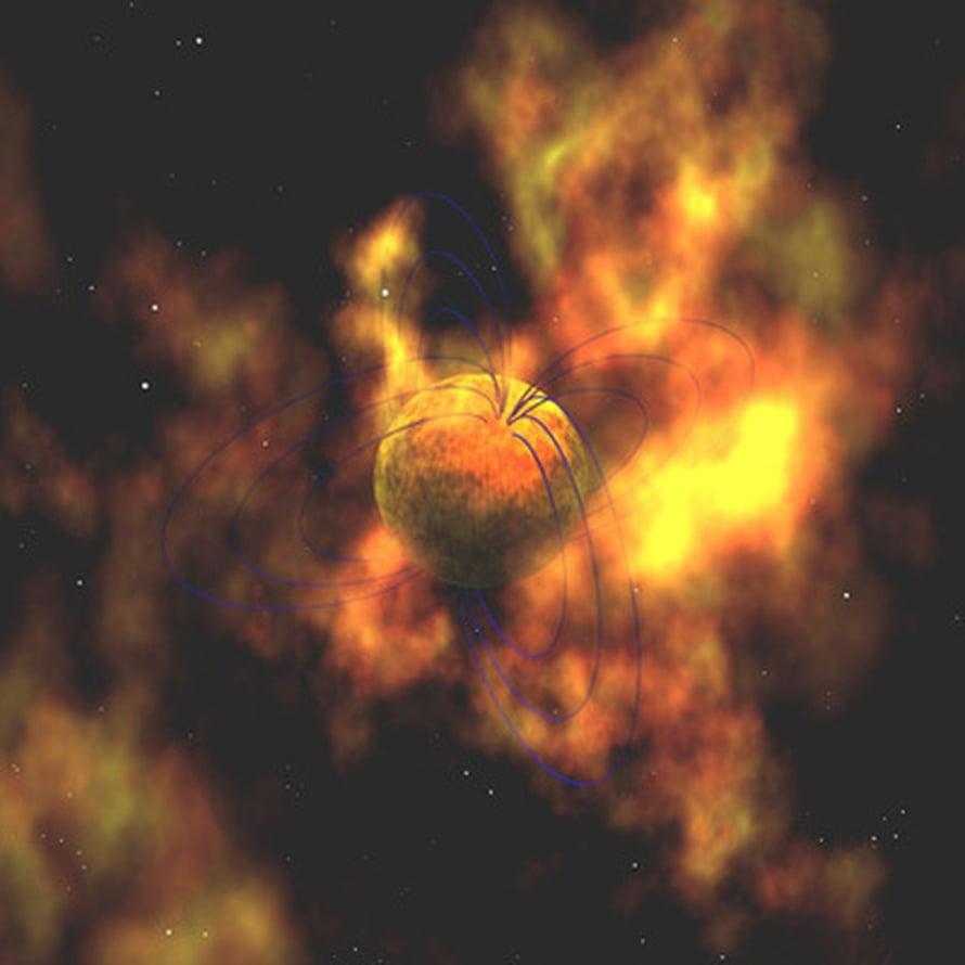 """Taiteilijan näkemys magnetarista. Kuva: <span class=""""photographer"""">Nasa</span>"""