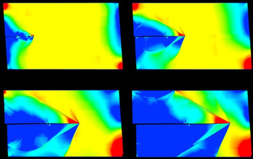 """Murtumien etenemistä tutkitaan  tietokonesimulaation. Kuva: <span class=""""photographer"""">Max Planck Institute for Metals Research</span>"""
