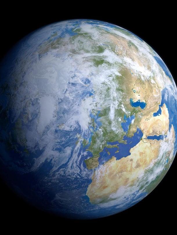 """Maantieteellinen pohjoisnapa on alkanut liikkua hitaasti. Kuvittajan näkemys maapallosta avaruudesta katsottuna. Kuva: <span class=""""photographer"""">SCIENCE PHOTO LIBRARY</span>"""