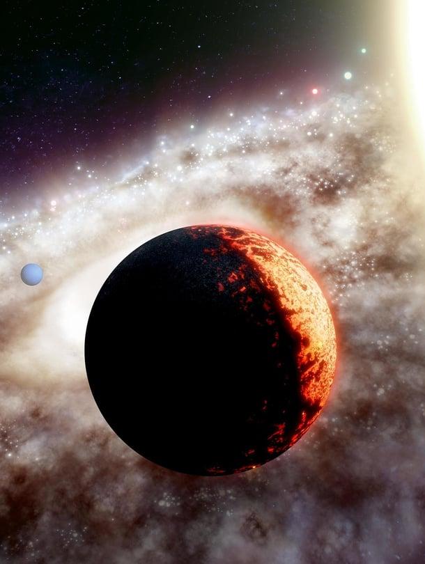 """Taiteilijan näkemys TOI-561b-planeetasta, joka kiertää tähteään aivan lähituntumassa. Kuva: <span class=""""photographer"""">Adam Makarenko / W. M. Keck Observatory</span>"""