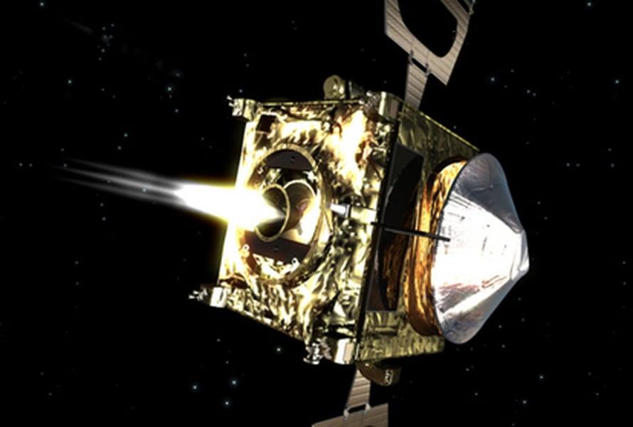 """Taiteilijan näkemys jarruttavasta Venus Expressistä. Kuva: <span class=""""photographer"""">ESA</span>"""