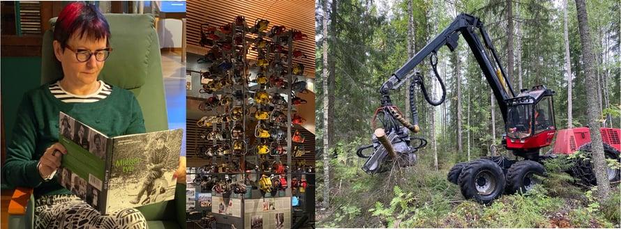 Vasemmalta oikealle: Metsämiehen työ -kirja, moottorisahoja Lustossa, monitoimikone metsätöissä. (Kitin kuva-arkisto)