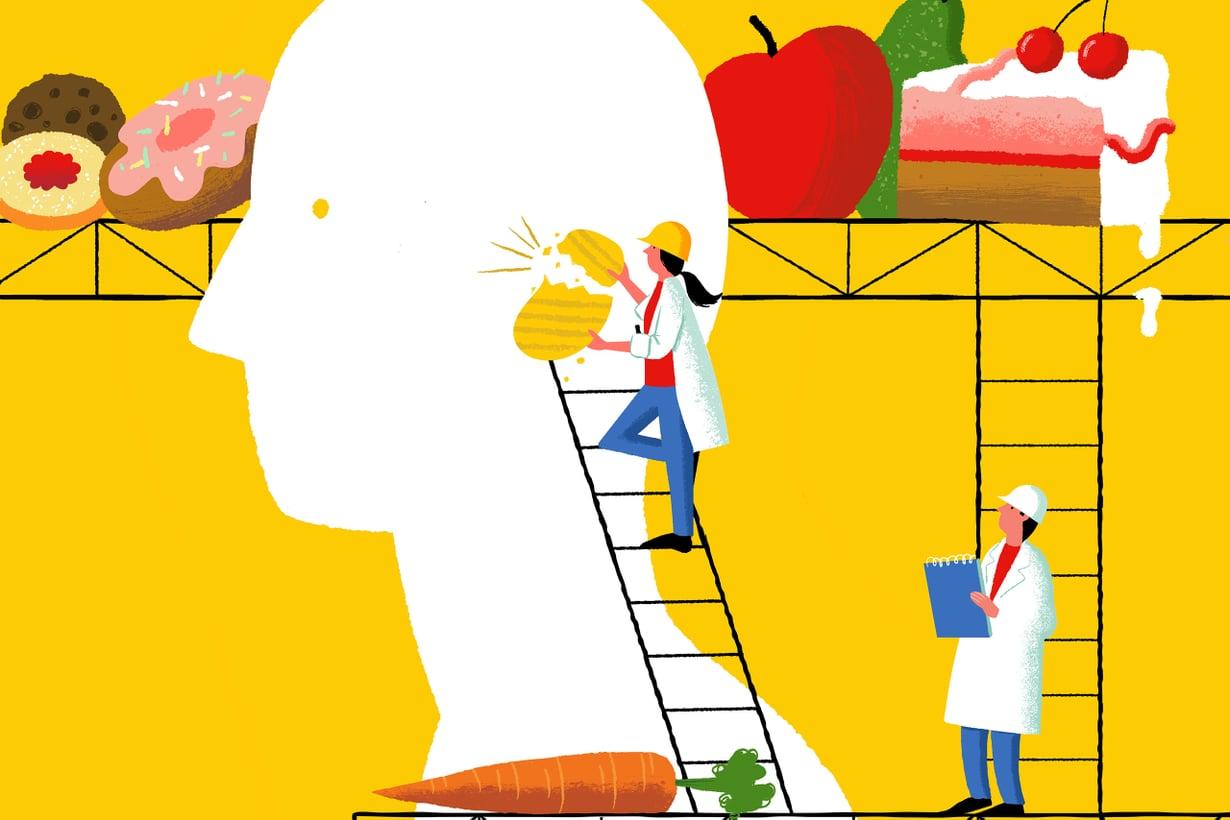 Ruokahalua ja makuelämystä luovat myös ympäristö ja odotukset. Kuvitus: Kati Närhi