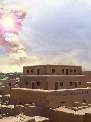"""Taiteilijan hahmotelma siitä, miltä Tall el-Hammamin palatsi olisi näyttänyt ennen tuhoutumistaan meteoriitin räjähdyksessä. Kuva: <span class=""""photographer"""">Allen West and Jennifer Rice, CC BY-ND</span>"""