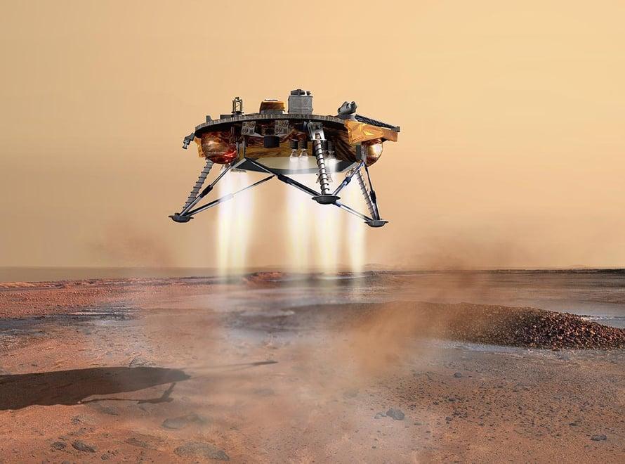 """InSight hidasti lähes kävelyvauhtiin juuri ennen tömähtämistään Marsin kamaralle. Kuva: <span class=""""photographer"""">Nasa</span>"""