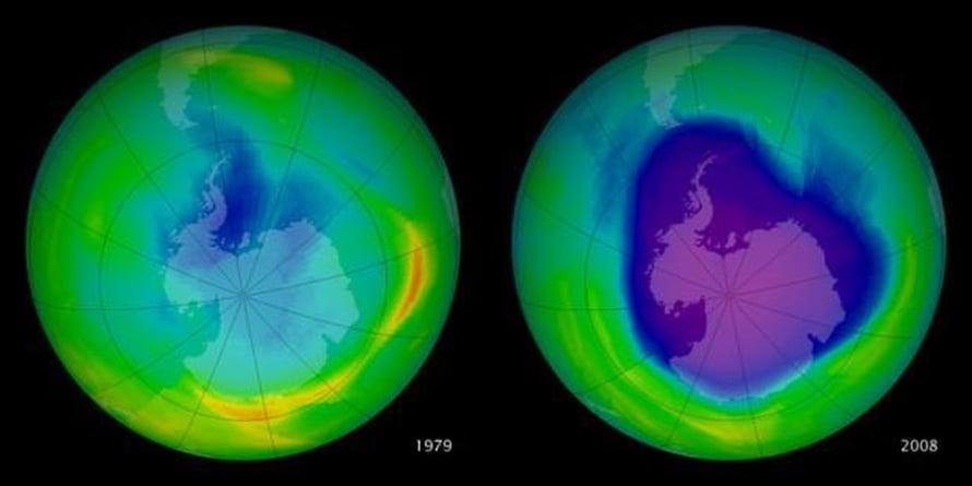 Etelämantereen otsonikato näkyy Nasan satelliittikuvissa.