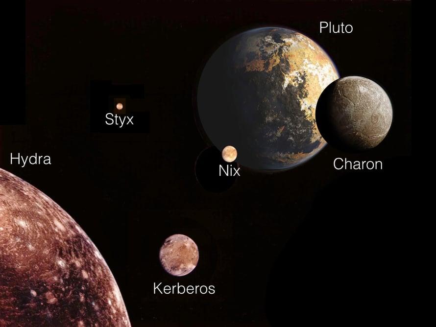 """Taiteilija on koonnut kääpiölaneetta Pluton ja sen viisi kuuta samaan kuvaan. Hydra isona vasemmalla. Kuut eivät ole kuvassa oikeassa mittakaavassa, eikä niiden pinnanmuodoista vielä tiedetä juuri mitään. Kerberos on tummempi kuin muut. Lähikuvia saadaan pian. Kuva:  <span class=""""photographer"""">NASA / M. Showalter </span>"""