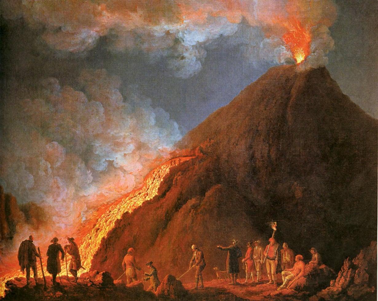 Jacob Hackert maalasi 1700-luvulla useita teoksia Vesuviuksesta, joka tuolla vuosisadalla purkautui kuudesti. Tulivuoren aktiivisuuden historiaa on kirjattu ylös ainakin vuodesta 79 alkaen. Kuva: Gemäldegalerie Alte Meister, Kassel