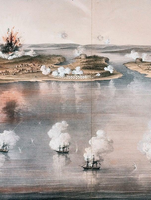 """Itämerellä tehtiin maailmanpolitiikkaa kesällä 1854. Venäjän Ahvenanmaan-etuvartiota Bomarsundia saartoi 25 Englannin sota-alusta. Kuva: <span class=""""photographer"""">Alamy/MVPhotos</span>"""