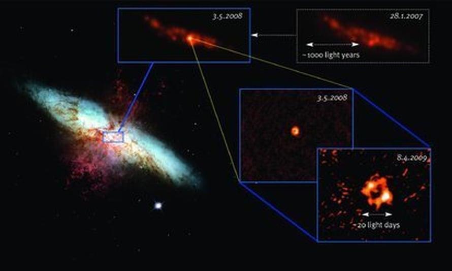"""Hubblen otos (vas) M82-galaksista (sin), josta purkautuu vetyä (pun). Uusi supernova näkyy VLA:n havainnoista (vas. ylh.), ja myös VLBI-kuvat (alh.oik.) vahvistavat räjähdyksen.     Kuva: <span class=""""photographer"""">Milde Science Communication,NASA, ESA, STScI/AURA & A. Brunth</span>"""