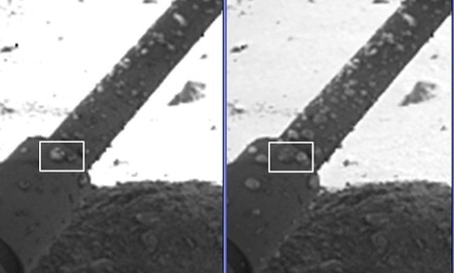 """Phoenixin jalassa näkyvät pisarat kasvoivat ajan kuluessa. Kuva: <span class=""""photographer"""">NASA/JPL-Caltech/University of Arizona/Max Planck Institute.</span>"""