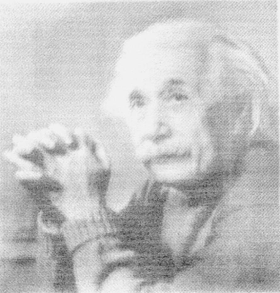 """Nanoputkimusteella printattu Einstein. Kuva: <span class=""""photographer"""">K. Kordas and G. Toth/Oulun yliopisto</span>"""