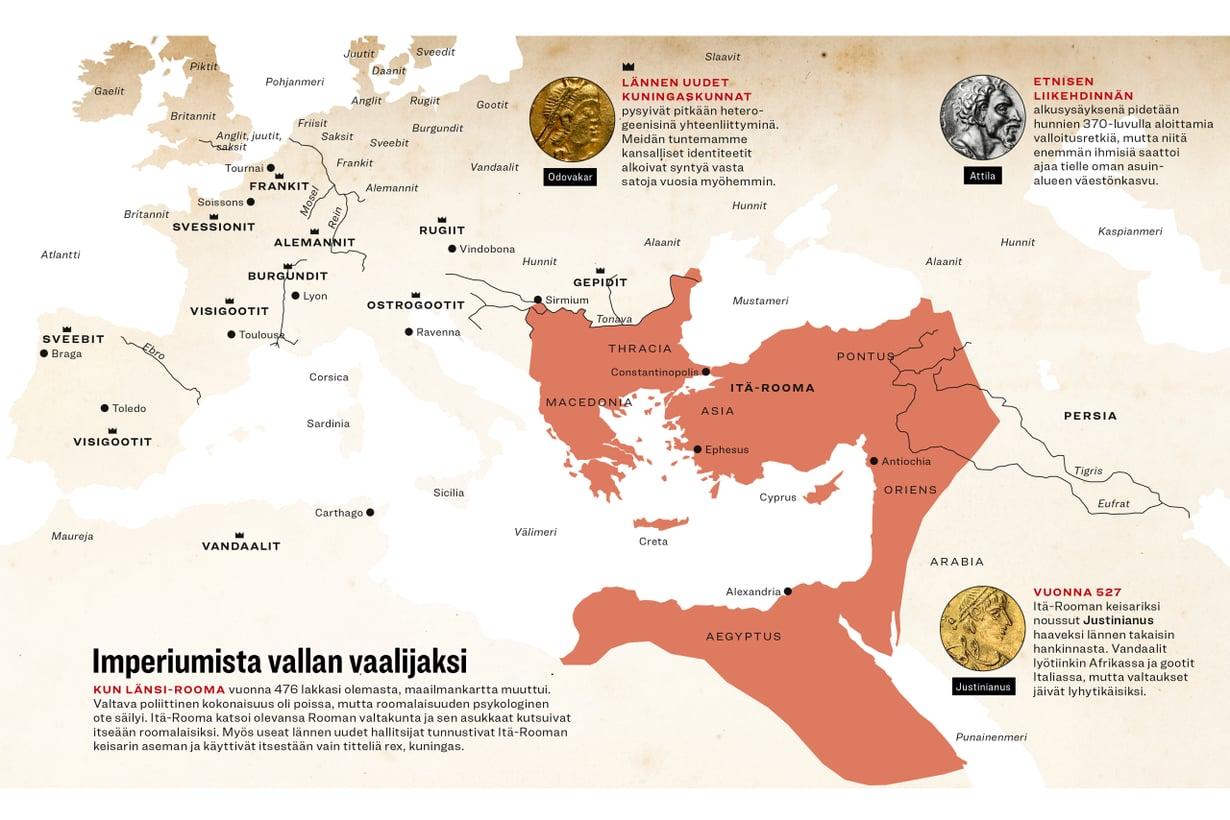 Rooma Länsi-Rooman kadottua vuonna 476. (Aineisto Tuula Kinnarinen, grafiikka Riku Koskelo/Tiede, asiantuntija Maijastina Kahlos)