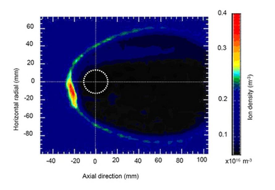 """Tutkijat tuottivat simuloituun aurinkotuuleen suojakuplan magneettikentän avulla. Kuva: <span class=""""photographer"""">IOP</span>"""