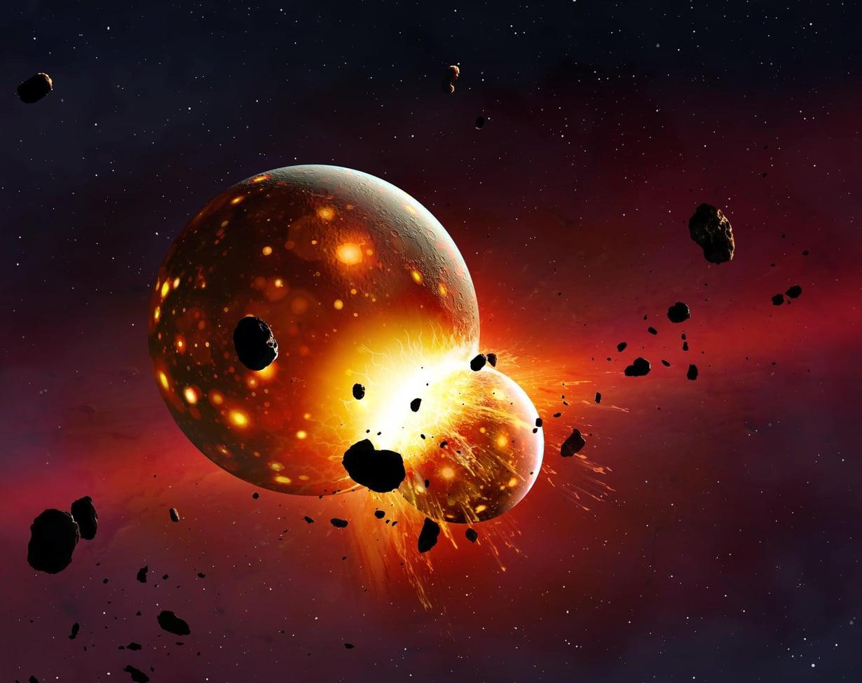 Uuden tutkimuksen mukaan Theia saapui ulompaa aurinkokunnasta ja sisälsi runsaasti vettä. Taiteilijan näkemys Theia-planeetan törmäyksestä Maahan. Kuva: MARK GARLICK / SCIENCE PHOTO LIBRARY
