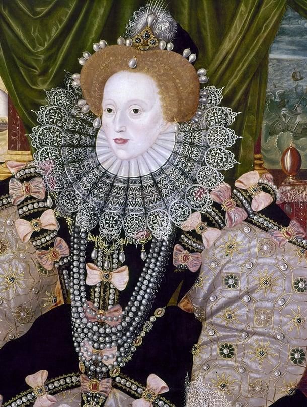 """Elisabet I raivasi tietä maailmanvalloitukselle voittamalla meritaistelussa Espanjan mahtavan armadan. Sen kunniaksi tehtiin komea muotokuva 1588. Kuva: <span class=""""photographer"""">Granger/MVPhotos</span>"""