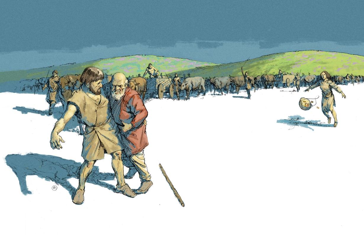 Paimentolaisten vankkurikolonnat olivat outo näky jo pitkään maata viljelleille eurooppalaisille. Kuvitus: Ossi Hiekkala