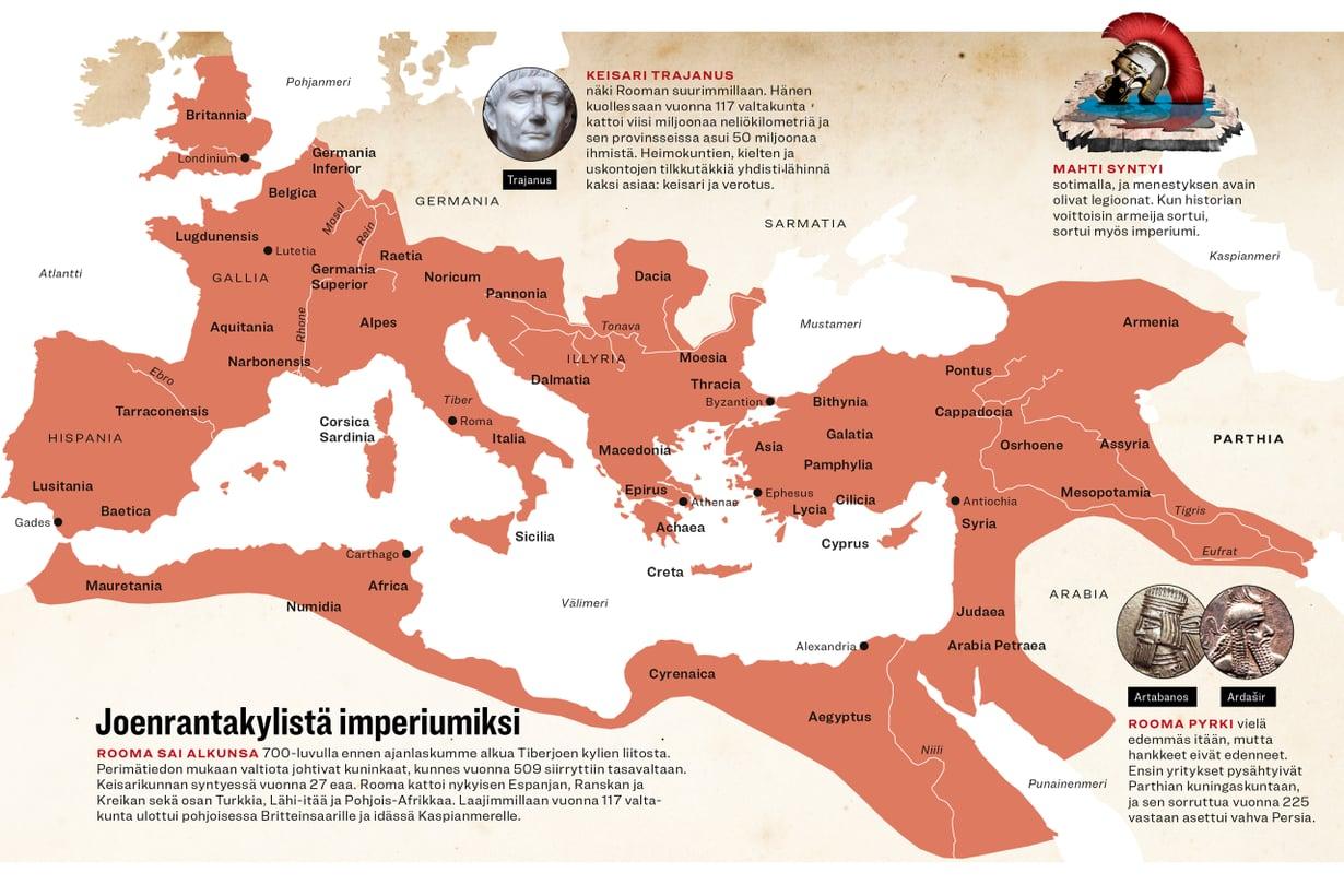 Rooma laajimmillaan vuonna 117. (Aineisto Tuula Kinnarinen, grafiikka Riku Koskelo/Tiede, asiantuntija Maijastina Kahlos)