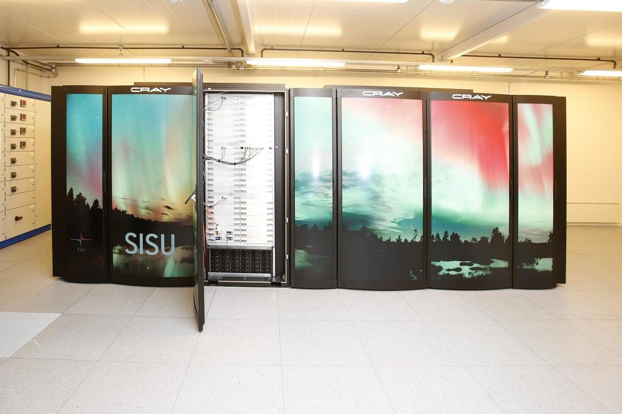 Supertietokone Sisu Kajaanin datakeskuksessa vuonna 2013.