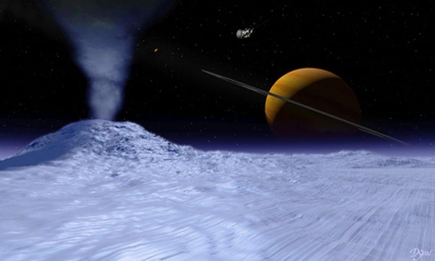 """Enceladus. Kuva: <span class=""""photographer"""">NASA/JPL/ David Seal</span>"""