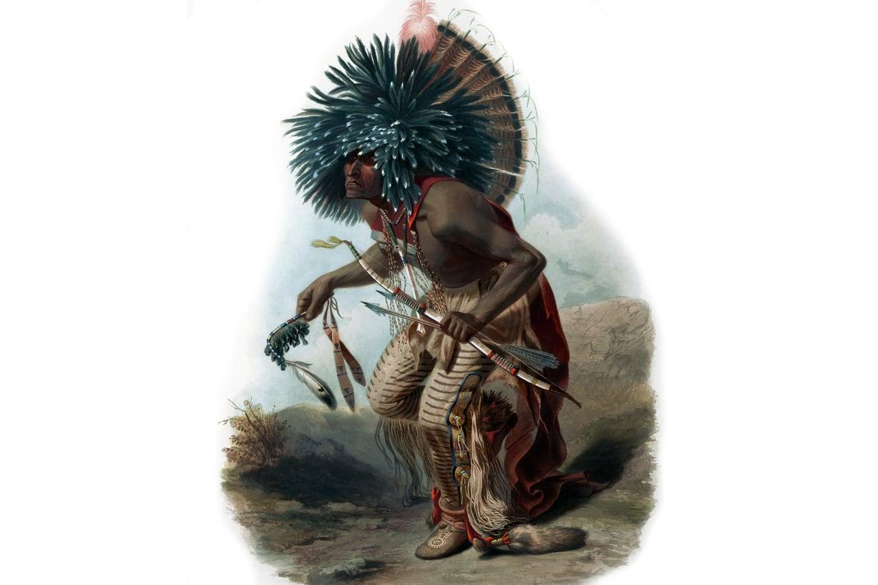 Yksi Amerikan alkuperäisasukkaista, etnonyymisti hidatsa. Kuva: Karl Bodmer, Hidatsojen koirasoturin tanssi, 1834/Wikimedia Commons