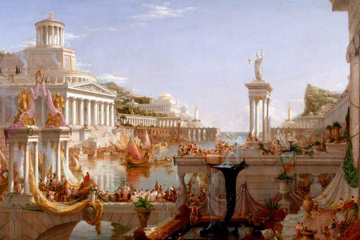 Aikansa supervalta hallitsi koko Välimeren piiriä ja isoa osaa Eurooppaa mittavan ajan: yli 500 vuotta. Maalaus: Thomas Cole, Consummation of Empire, 1836/Wikimedia Commons