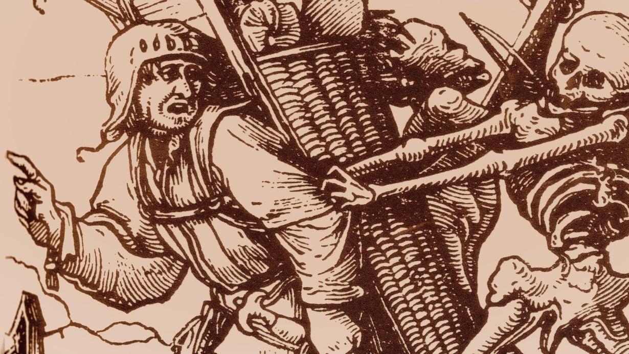 Keskiajan pelottavimpia tauteja oli rutto. Hans Holbein nuoremman puupiirros Kaupustelija ja kuolema.