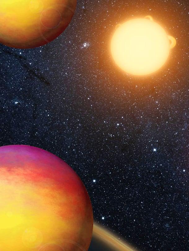 Maan ulkopuolisen älyn etsintää vauhdittavat ekso¬planeettalöydöt. Ne auttavat kohdentamaan radiosignaalien kuuntelun elämälle otollisiin planeettakuntiin. Kuvat: Nasa ja Wikimedia Commons
